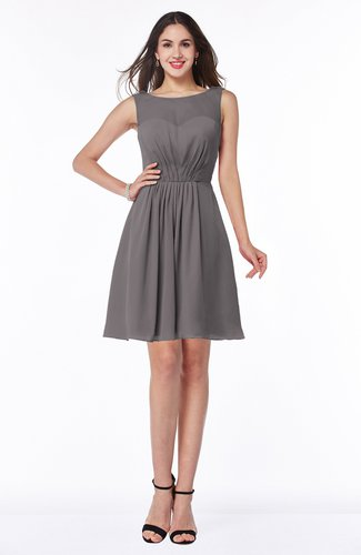 Plain Scoop Sleeveless Zipper Mini Bridesmaid Dresses