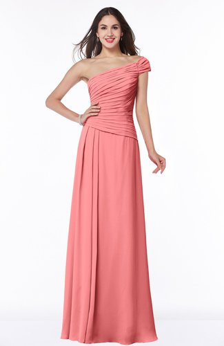 Coral modern a line one shoulder sleeveless floor length plus size