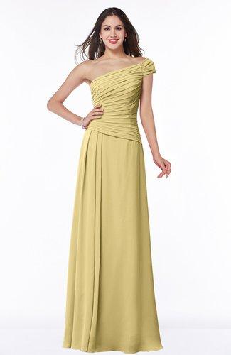 Gold Modern A Line One Shoulder Sleeveless Floor Length Plus Size