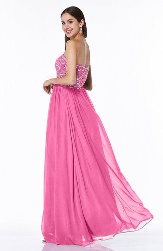Rose Pink Sexy A Line Strapless Chiffon Rhinestone Plus Size Prom