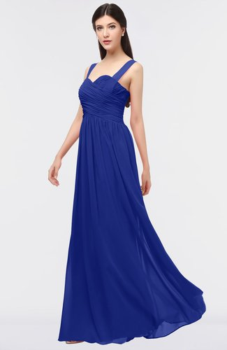 Nautical Blue Glamorous A-line Thick Straps Zip up Ruching Bridesmaid Dresses