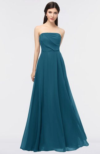 Modern Sleeveless Zip up Floor Length Plainness Bridesmaid Dresses