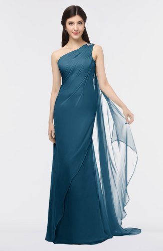 Modern Sheath Zip up Floor Length Beaded Bridesmaid Dresses