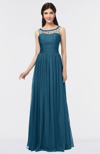 Elegant Scoop Sleeveless Buttons Floor Length Evening Dresses