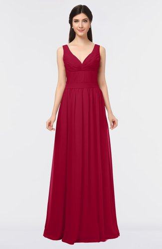 Simple V-neck Zip up Floor Length Ruching Bridesmaid Dresses