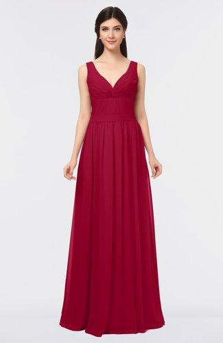 Simple V-neck Zip up Floor Length Ruching Bridesmaid Dresses