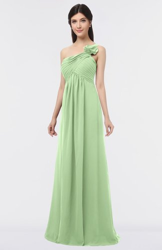 Elegant A-line Asymmetric Neckline Sleeveless Floor Length Flower Bridesmaid Dresses