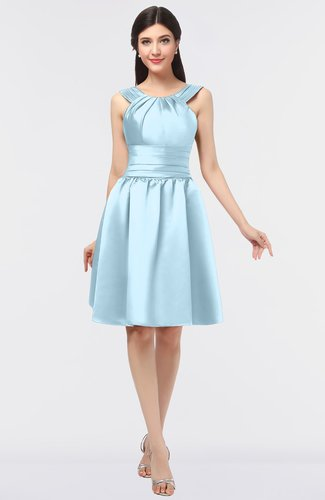 Ice Blue Mature A-line Scoop Sleeveless Ruching Bridesmaid Dresses
