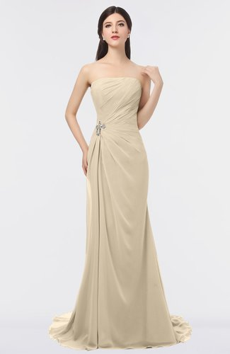 Mature Strapless Sleeveless Sweep Train Beaded Evening Dresses