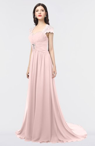 Mature Sweetheart Short Sleeve Sweep Train Appliques Prom Dresses