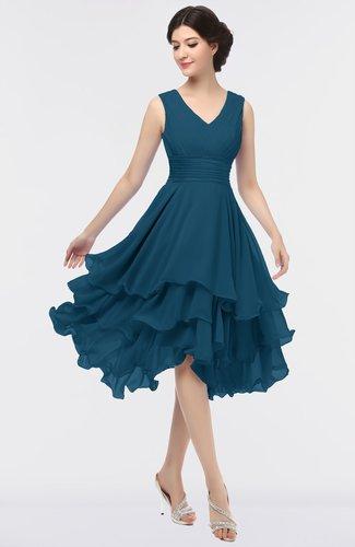 Elegant V-neck Zip up Knee Length Ruching Graduation Dresses
