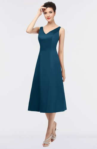 Mature A-line V-neck Sleeveless Zip up Plainness Bridesmaid Dresses