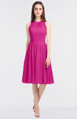 Elegant Sleeveless Zip up Knee Length Plainness Bridesmaid Dresses