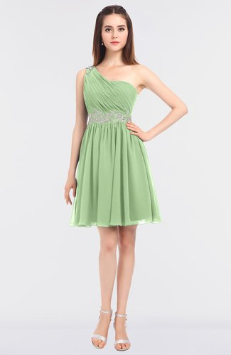 Sexy A-line Asymmetric Neckline Sleeveless Zip up Bridesmaid Dresses