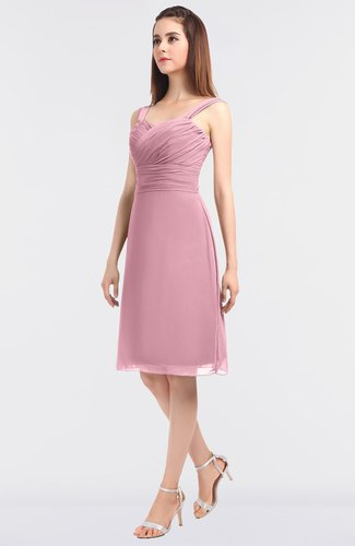Modern A-line Spaghetti Knee Length Ruching Bridesmaid Dresses