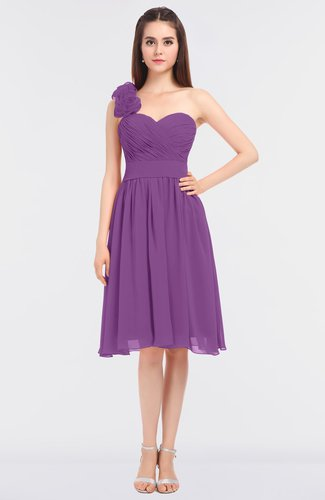 Romantic A-line Asymmetric Neckline Sleeveless Knee Length Flower Bridesmaid Dresses