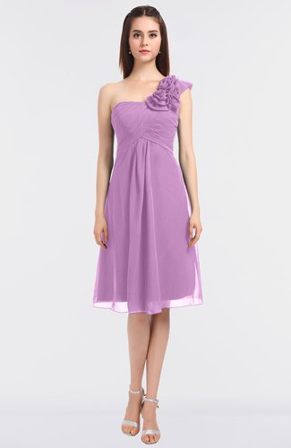 Glamorous Asymmetric Neckline Zip up Knee Length Flower Bridesmaid Dresses