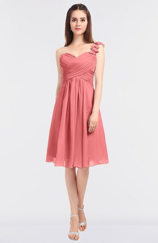 Glamorous A-line Asymmetric Neckline Sleeveless Zip up Knee Length Bridesmaid Dresses