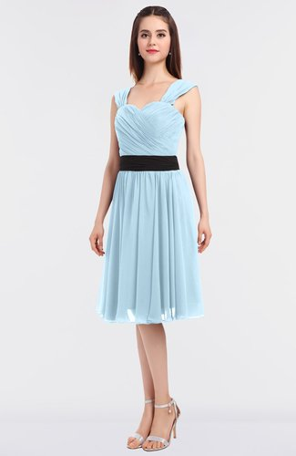 Modern A-line Thick Straps Sleeveless Knee Length Sash Bridesmaid Dresses