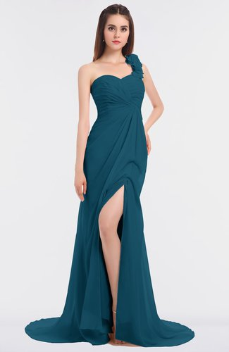 Glamorous Mermaid Asymmetric Neckline Sleeveless Flower Prom Dresses