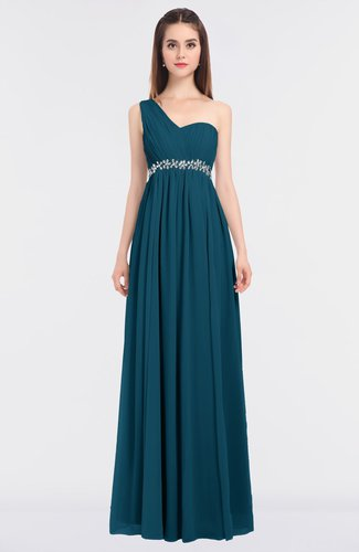 Moroccan Blue Mature A-line Sleeveless Zip up Floor Length Beaded Bridesmaid Dresses