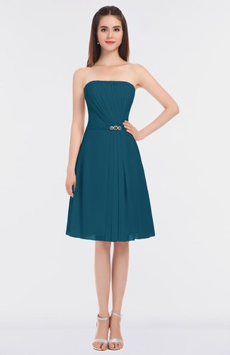Moroccan Blue Sexy Bateau Sleeveless Zip up Knee Length Appliques Bridesmaid Dresses