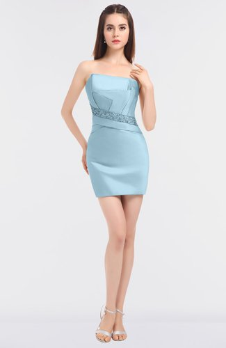Mature Sheath Strapless Zip up Mini Homecoming Dresses