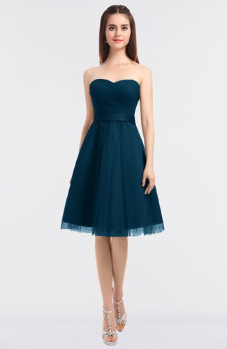Moroccan Blue Glamorous A-line Sleeveless Knee Length Bow Bridesmaid Dresses