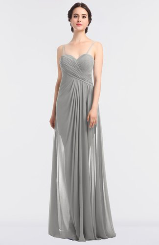 Glamorous Spaghetti Sleeveless Zip up Floor Length Ruching Bridesmaid Dresses