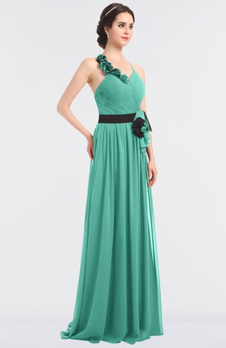 Elegant A-line Halter Sleeveless Zip up Floor Length Bridesmaid Dresses