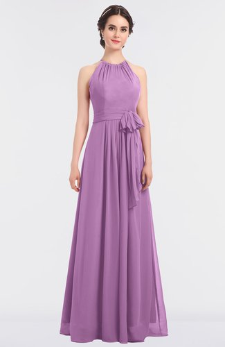Classic A-line Halter Zip up Pick up Bridesmaid Dresses