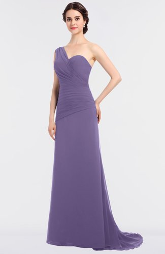 Mature A-line Asymmetric Neckline Sleeveless Sweep Train Ruching Bridesmaid Dresses