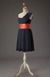 Romantic A-line One Shoulder Chiffon Short Ribbon Wedding Guest Dresses