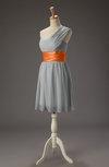 Romantic One Shoulder Sleeveless Zipper Chiffon Short Bridesmaid Dresses