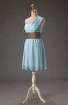 Romantic A-line Zip up Chiffon Mini Sash Bridesmaid Dresses
