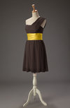 Romantic A-line Asymmetric Neckline Zip up Mini Little Black Dresses