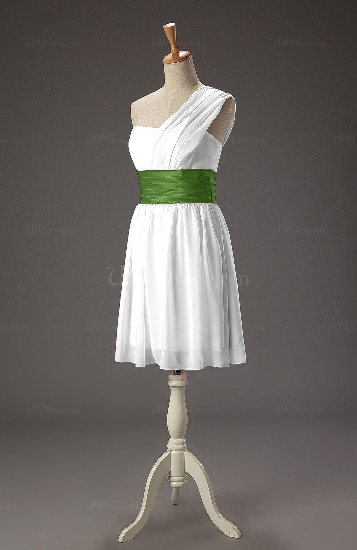 White cute a line zipper chiffon short wedding guest for Cute wedding guest dresses