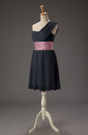 Romantic Asymmetric Neckline Sleeveless Chiffon Short Ruching Bridesmaid Dresses