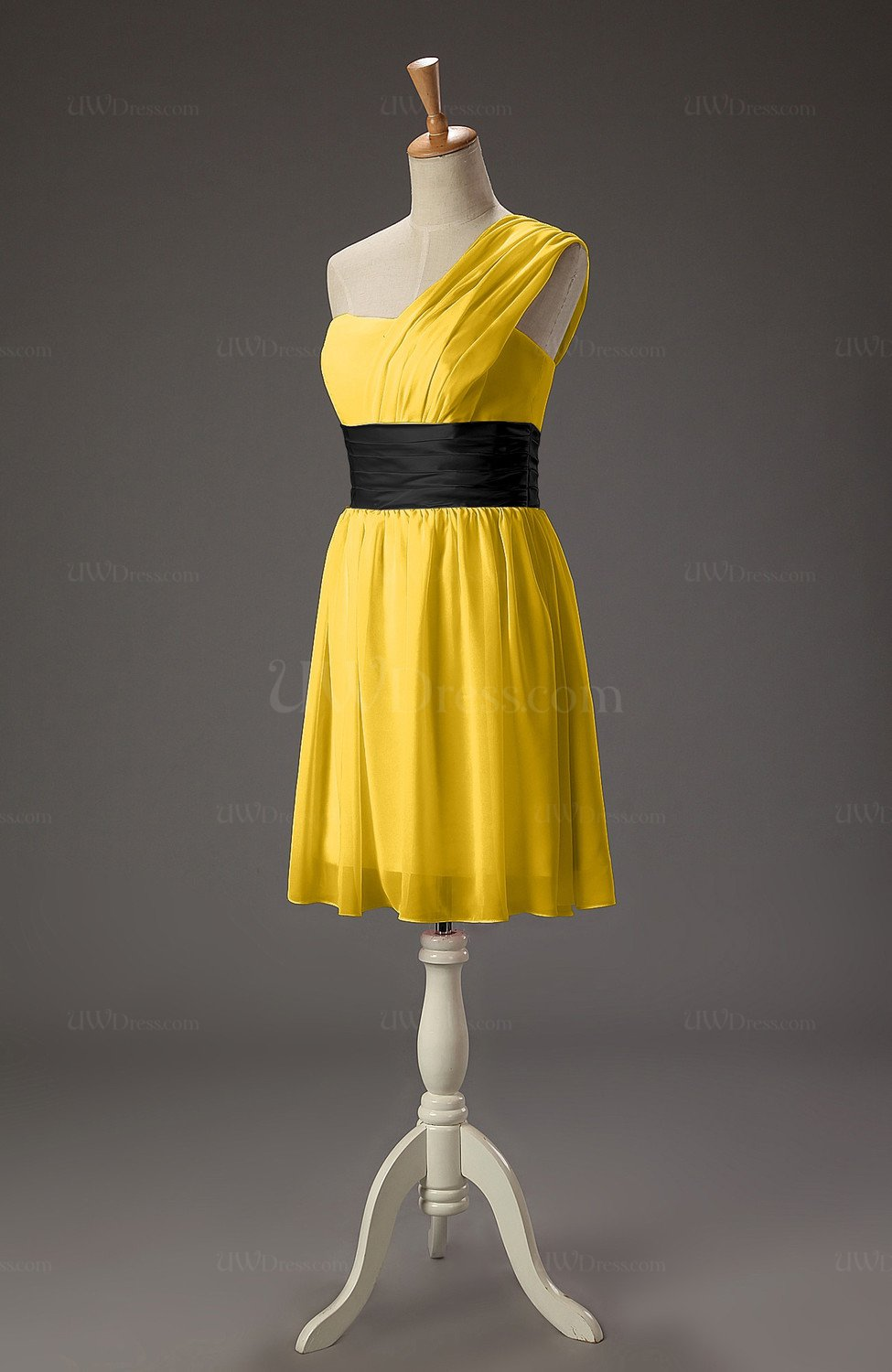 Yellow cute a line one shoulder sleeveless mini ribbon for Yellow wedding guest dress