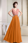 Vintage A-line V-neck Sleeveless Floor Length Pleated Evening Dresses