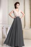 Modest A-line V-neck Sleeveless Pleated Evening Dresses