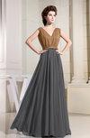 Vintage A-line Sleeveless Zip up Chiffon Pleated Prom Dresses