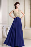 Antique A-line V-neck Zipper Pleated Prom Dresses
