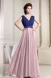 Informal Sleeveless Zip up Chiffon Floor Length Pleated Evening Dresses