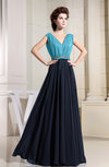 Vintage V-neck Sleeveless Chiffon Pleated Bridesmaid Dresses