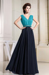 Casual A-line V-neck Chiffon Floor Length Pleated Bridesmaid Dresses