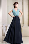 Antique V-neck Sleeveless Chiffon Pleated Bridesmaid Dresses