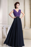 Casual A-line V-neck Floor Length Pleated Bridesmaid Dresses