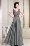 Antique A-line V-neck Sleeveless Zipper Chiffon Evening Dresses
