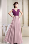Vintage V-neck Sleeveless Zipper Floor Length Pleated Bridesmaid Dresses